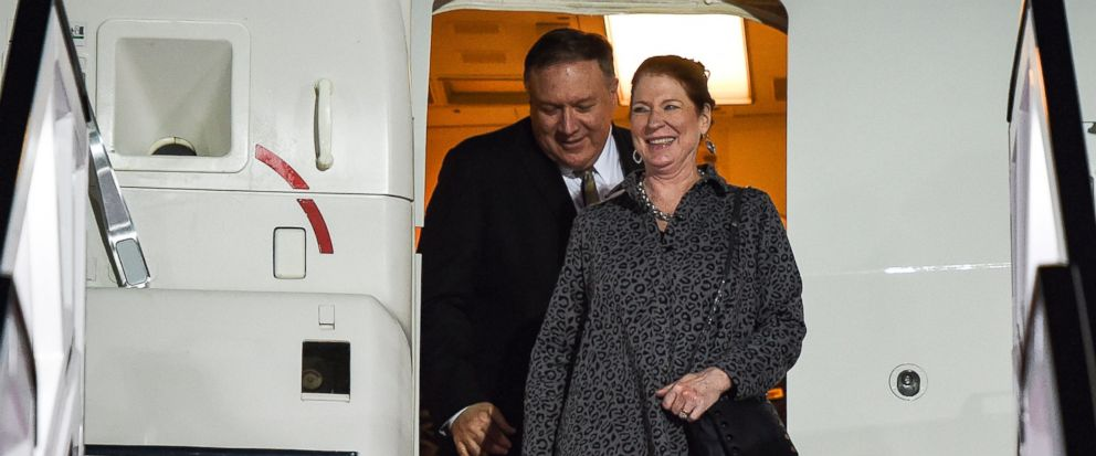U.S. Secretary of State Mike Pompeo and his wife Susan arrive at Abu Dhabi International Airport in Abu Dhabi, United Arab Emirates, Friday, Jan. 11, 2019. (Andrew Caballero-Reynolds/Pool Photo via AP)