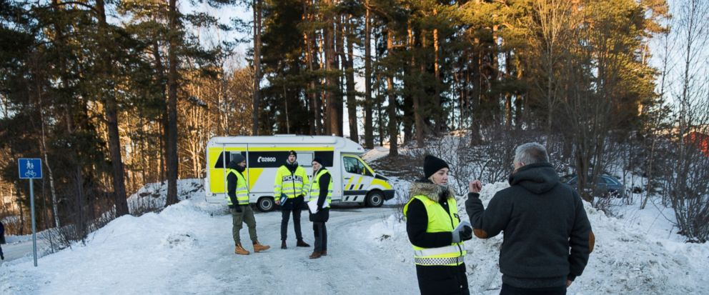 Police patrol outside the home of Norwegian billionaire Tom Hagen and his wife Anne-Elisabeth Falkevik Hagen in Fjellhamar, Norway, Thursday, Jan. 10, 2019. Norwegian police investigating the believed abduction of millionaire Tom Hagens wife release