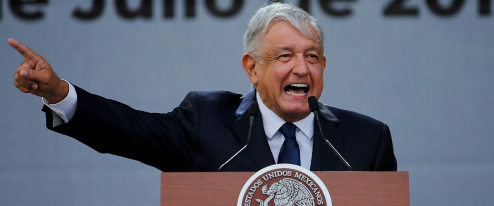 FILE - In this July 1, 2019 file photo, Mexicos President Andres Manuel Lopez Obrador delivers his speech during rally to celebrate the one-year anniversary of his election, in Mexico Citys main square, the Zocalo. Vigilante attacks and mob justice