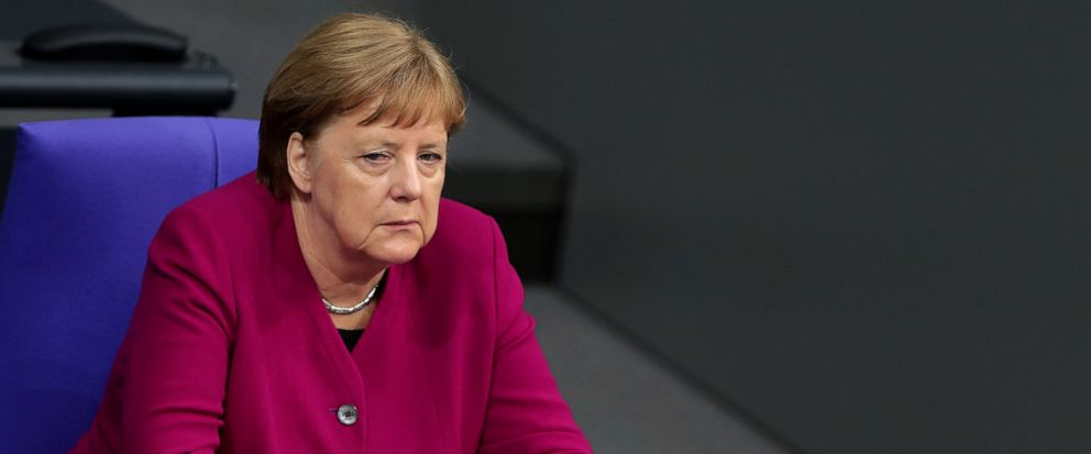 German Chancellor Angela Merkel attends a debate on 70 Years German Constitution of the German federal parliament, Bundestag, at the Reichstag building in Berlin, Germany, Thursday, May 16, 2019. (AP Photo/Michael Sohn)