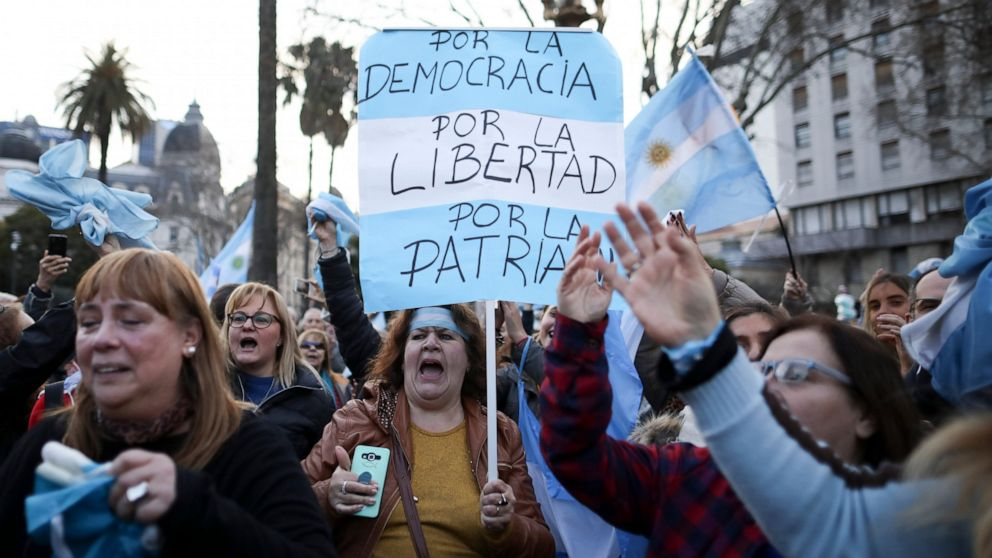 Crowds fill Argentine streets to back conservative president