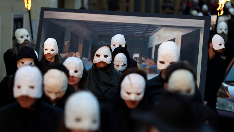 AP PHOTOS: Czech believers revive Easter rattling procession
