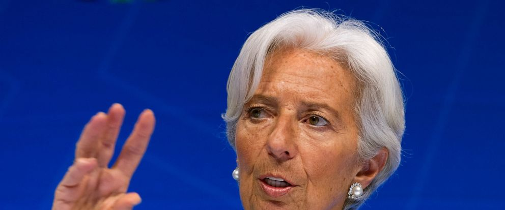 International Monetary Fund (IMF) Managing Director Christine Lagarde speaks during a news conference after the International Monetary and Financial Committee (IMFC) conference at the World Bank/IMF Spring Meetings in Washington, Saturday, April 13,