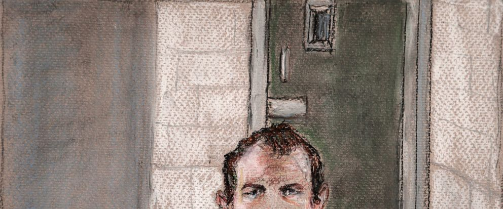 FILE - In this June 14, 2019, file courtroom drawing, Brenton Tarrant, the man accused of killing 51 people at two Christchurch mosques on March 15, 2019 appears via video link at the Christchurch District Court, from the maximum security prison in A