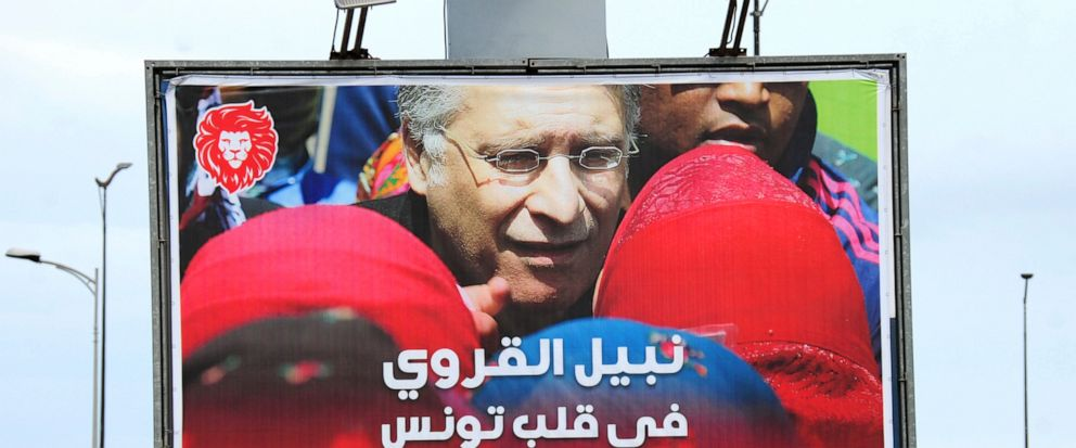 An electoral poster for jailed presidential candidate Nabil Karoui is pictured Tuesday Sept. 10, 2019 in Tunis. Tunisias 26 presidential candidates launched their campaigns last week in a political climate marked by uncertainty, money laundering all
