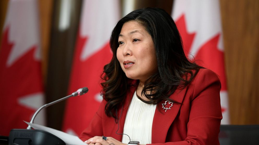 Minister of International Trade Mary Ng participates in a news conference on the Canada-United Kingdom Trade Continuity Agreement in Ottawa, on Saturday, Nov. 21, 2020. The U.K. signed an interim trade deal with Canada on Saturday, the second major a