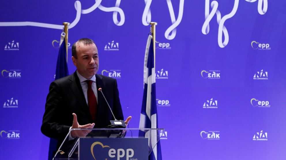 """Manfred Weber who heads the European Parliament's biggest group, delivers a speech during a European People's Party (EPP) Group Bureau Meeting in Athens, Thursday, Feb. 7, 2019. The top European Parliament lawmaker has slammed Greece's stance on Venezuela's political crisis, saying Prime Minister Alexis Tsipras is """"blocking initiatives on a European level"""" that would support those """"fighting for a democratic Venezuela."""" (AP Photo)"""