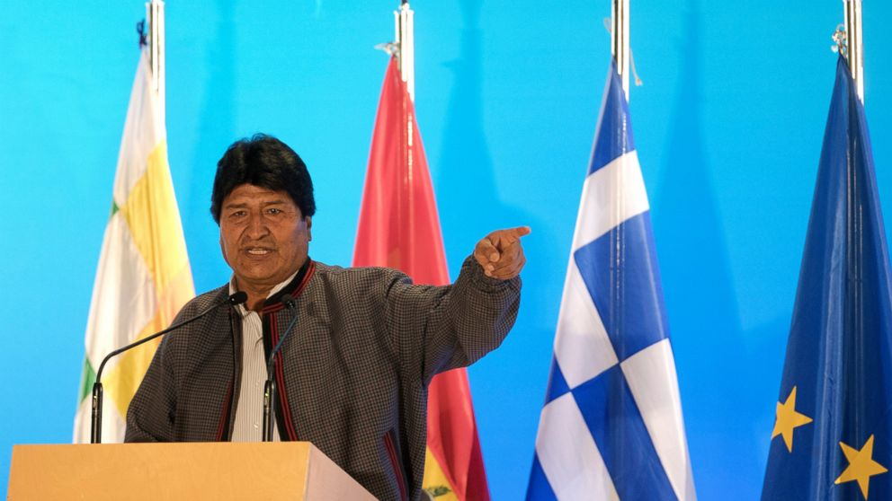 Bolivian President Evo Morales speaks during a conference with Greece's Prime Minister Alexis Tsipras, in Athens, Thursday, March 14, 2019. Morales is in Greece on a two-day official visit. (AP Photo/Petros Giannakouris)