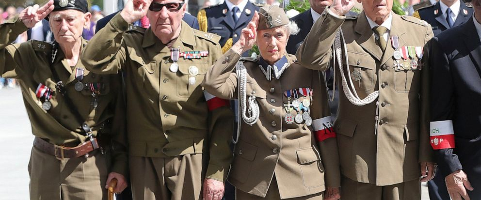 Polish officials and war veterans pay tribute to a World War II-era underground force that collaborated with Nazi German forces toward the end of the war in their battle against the Communists, who were imposing control on the nation, in Warsaw, Pola