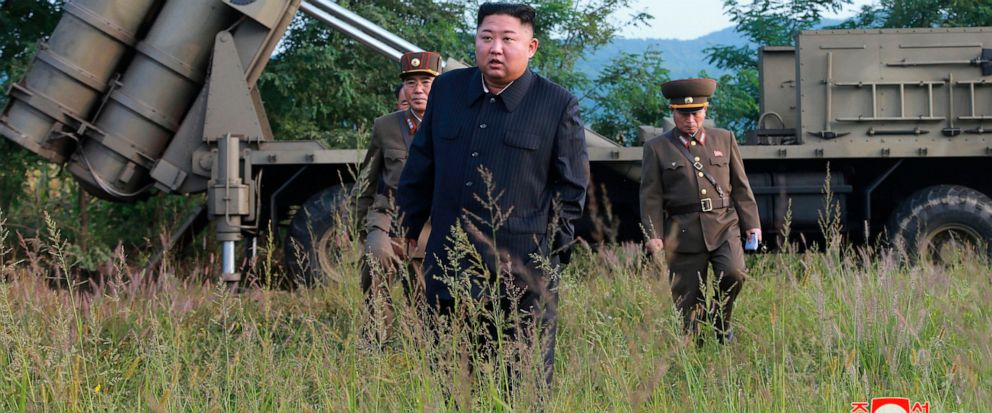 In this Tuesday, Sept. 10, 2019, photo provided by the North Korean government, North Korean leader Kim Jong Un visits a multiple rocket launcher site at an undisclosed location in North Korea. The content of this image is as provided and cannot be i