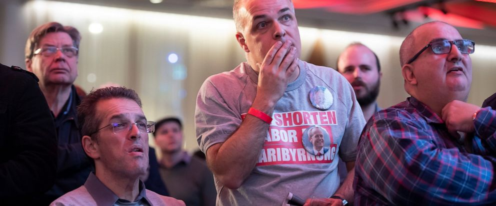 Labor party supporters watch the tally count at the Federal Labor Reception in Melbourne, Australia, Saturday, May. 18, 2019. Voting has closed in Australias general election, with some senior opposition lawmakers confident that they will form a cen