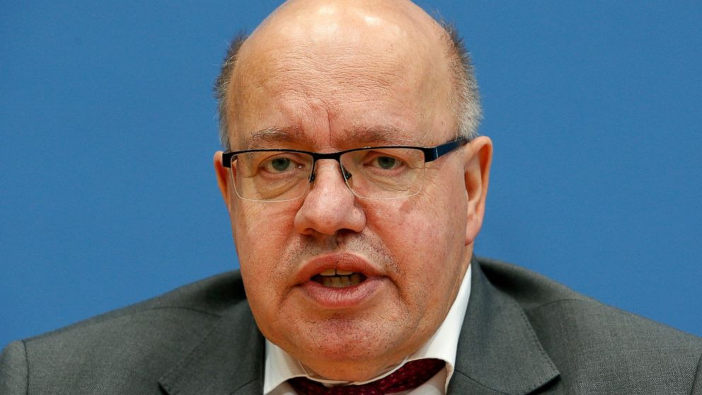 German Economy Minister Peter Altmaier addresses the media during a press conference in Berlin, Germany, Wednesday, Dec. 19, 2018. (AP Photo/Michael Sohn)