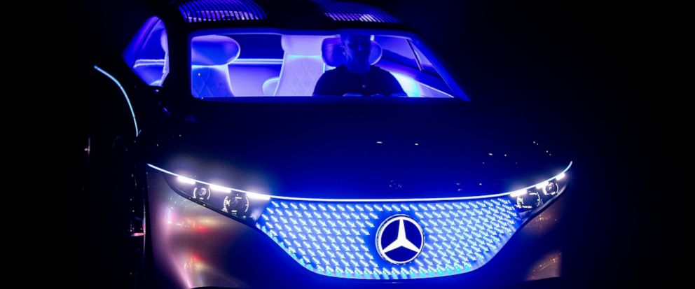 A Mercedes Vision EQS car is displayed at the IAA Auto Show in Frankfurt, Germany, Wednesday, Sept. 11, 2019. (AP Photo/Michael Probst)