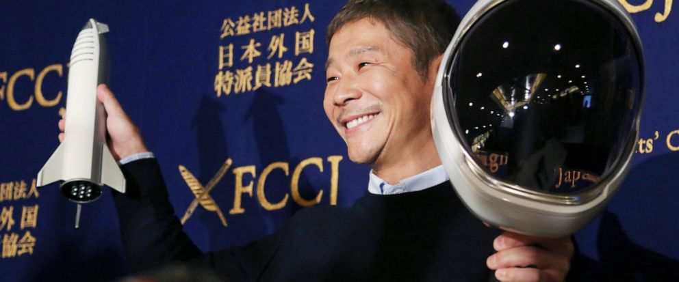 FILE - In this Oct. 9, 2018, file photo, Zozo Chief Executive Yusaku Maezawa poses for the media prior to his news conference in Tokyo. Yahoo Japan Corp. said Thursday, Sept. 12, 2019 it will put up a tender offer, estimated at 400 billion yen ($3.7