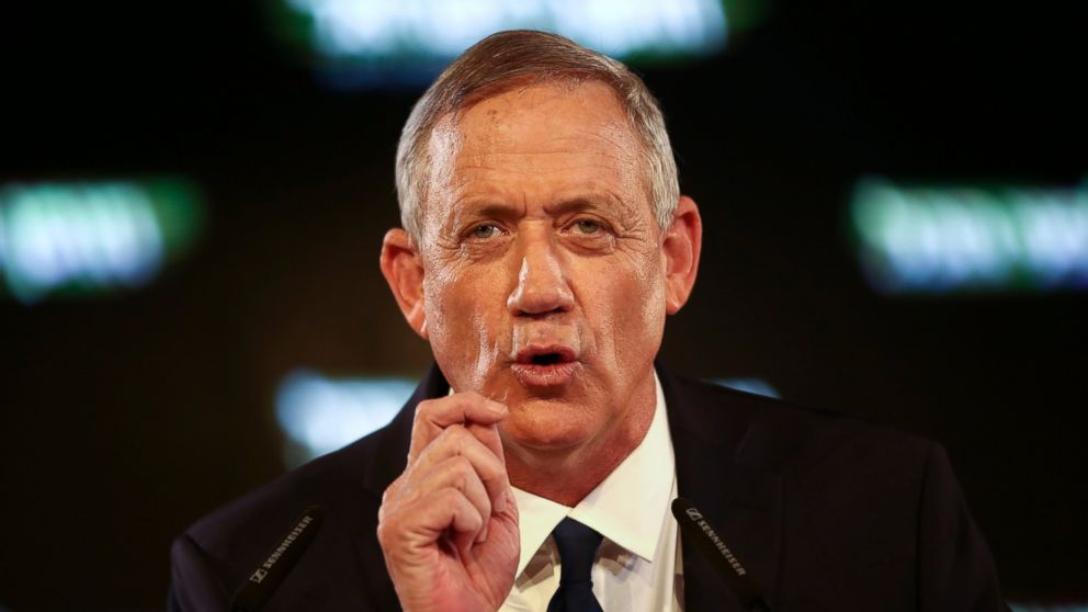 "FILE - In this Tuesday, Jan. 29, 2019, file photo, former Israeli Chief of Staff Benny Gantz speaks at the official launch of his election campaign in Tel Aviv, Israel. Gantz, the leading challenger to Israel Prime Minister Benjamin Netanyahu, said in a published interview Wednesday, Feb. 6, 2019, that Israel should ""find a way"" to end its control over the Palestinians. (AP Photo/Oded Balilty)"