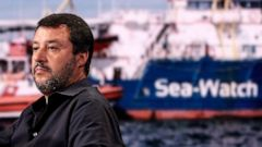 Italian Deputy Premier and Interior Minister, Matteo Salvini, attends a RAI state TV program in Rome, Wednesday, June 26, 2019. A German humanitarian ship carrying 42 migrants rescued off Libya two weeks ago is in Italian waters within sight of Lampe