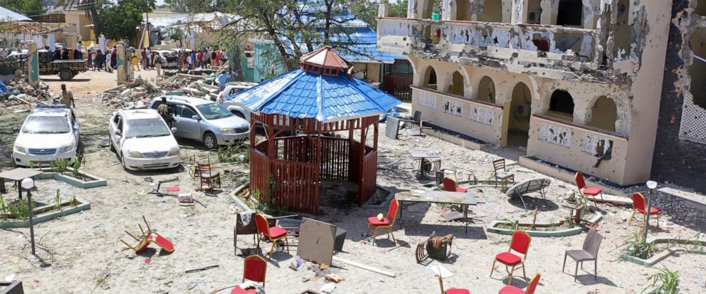 A view of Asasey Hotel after an attack, in Kismayo , Somalia, Saturday July 13, 2019. At least 10 people, including two journalists, were killed in an extremist attack Friday on a hotel in the port city of Kismayo, a Somali official said. The attack