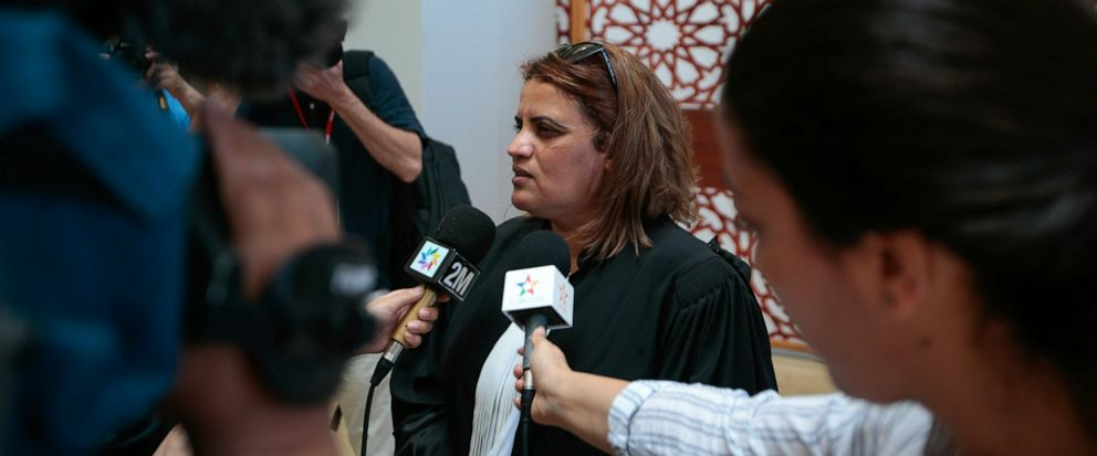 Hafida Makssaoui, a state lawyer representing four suspects.speaks to the press after a trial session for suspects charged in connection with killing of two Scandinavian tourists in Moroccos Atlas Mountains, in Sale, near Rabat, Morocco, Thursday, M