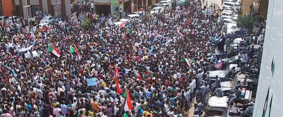 In this frame grab from video thousands of Sudanese rally on the streets of the capital, in Khartoum, Sudan, Thursday, Sept. 12, 2019. The protesters demanded the sacking of the judiciary chief and the general prosecutor over their alleged ties to ou