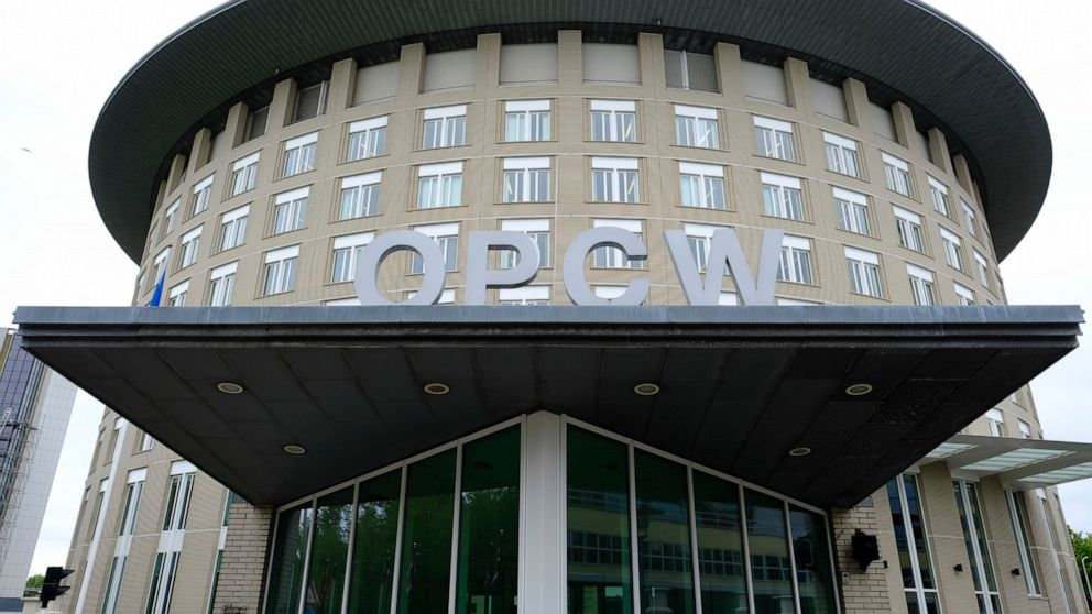 FILE - This Friday May 5, 2017 file photo shows the headquarters of the Organisation for the Prohibition of Chemical Weapons (OPCW), The Hague, Netherlands. Russia came under renewed pressure to explain the nerve agent attack on opposition figure Ale