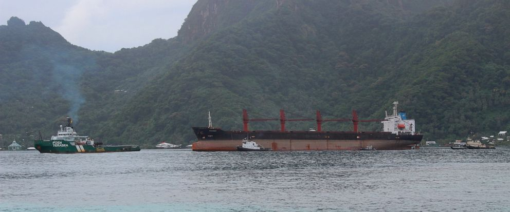 The North Korean cargo ship, Wise Honest, middle, was towed into the Port of Pago Pago in the late morning on Saturday, May 11, 2019, in Pago Pago, American Samoa. The Wise Honest ship was seized by the U.S. because of suspicion it was used to violat
