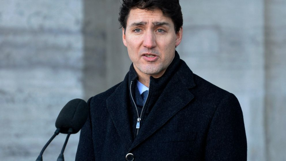 """Prime Minister Justin Trudeau addresses the media in Ottawa, Ontario on Monday, Jan. 14, 2019. A Chinese court sentenced Robert Lloyd Schellenberg, a Canadian man to death Monday in a sudden retrial in a drug smuggling case. Trudeau said he is extremely concerned that China chose to """"arbitrarily"""" apply the death penalty to a Canadian citizen. (Adrian Wyld/The Canadian Press via AP)"""