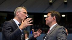 NATO Secretary General Jens Stoltenberg, left, speaks with acting U.S. Secretary for Defense Mark Esper during a meeting of the coalition to defeat Islamic State militants at NATO headquarters in Brussels, Thursday, June 27, 2019. (AP Photo/Virginia
