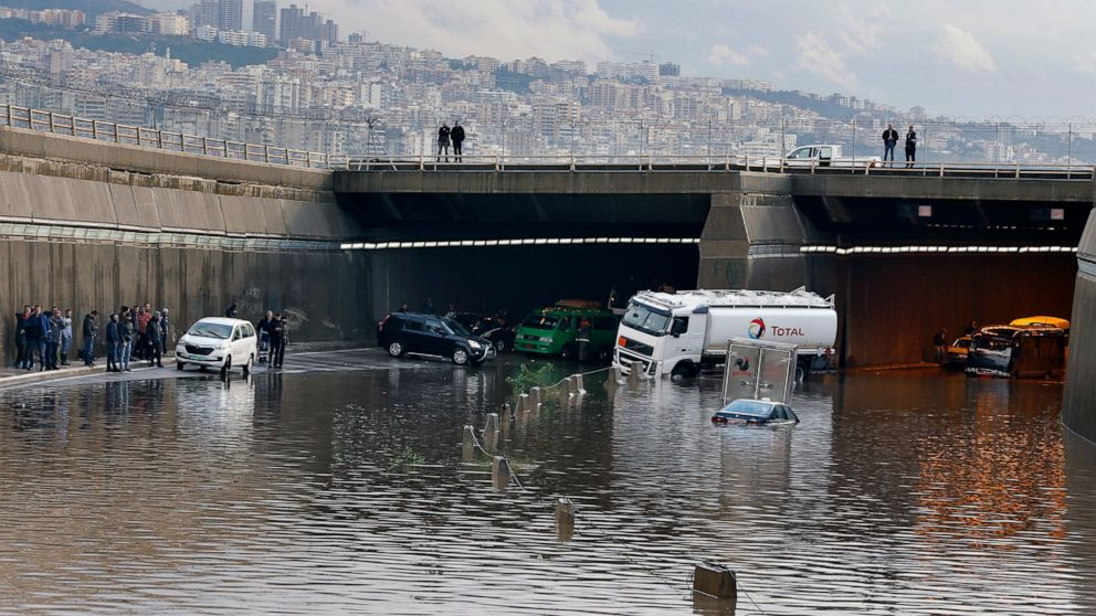 Heavy rain causes floods, paralyzes Lebanon's capital