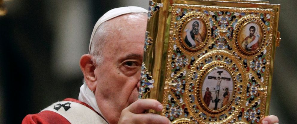 Pope Francis celebrates a Mass where he bestowed the Pallium, a woolen shawl symbolizing their bond to the pope, to new Metropolitan Archbishops, in St. Peters Basilica at the Vatican, Saturday, June 29, 2019. (AP Photo/Gregorio Borgia)