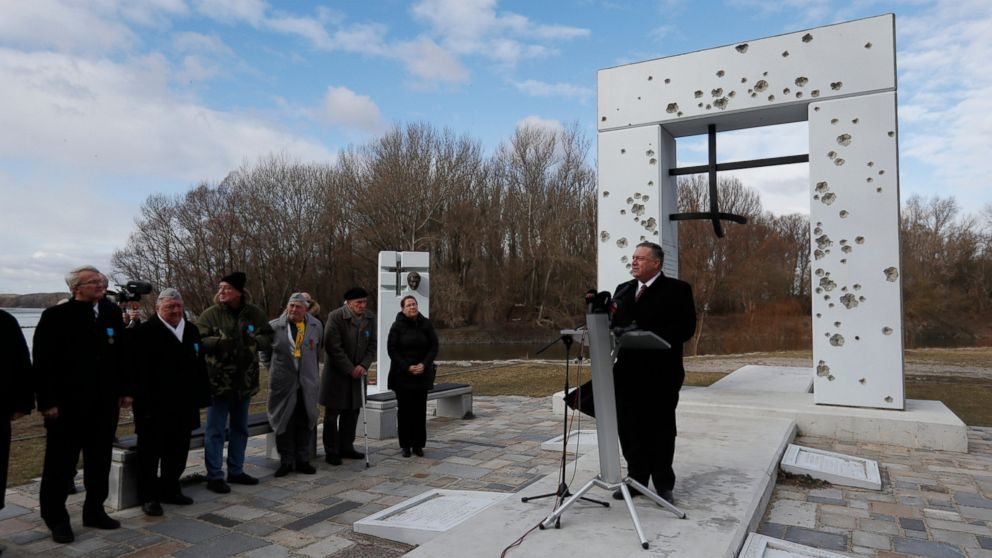 US Secretary of State Mike Pompeo delivers a speech at the Freedom Gate memorial in Bratislava, Slovakia, Tuesday, Feb. 12, 2019. Pompeo on Tuesday invoked the 30th anniversary of the demise of communism to implore countries in Central Europe to resist Chinese and Russian influence. (AP Photo/Petr David Josek)