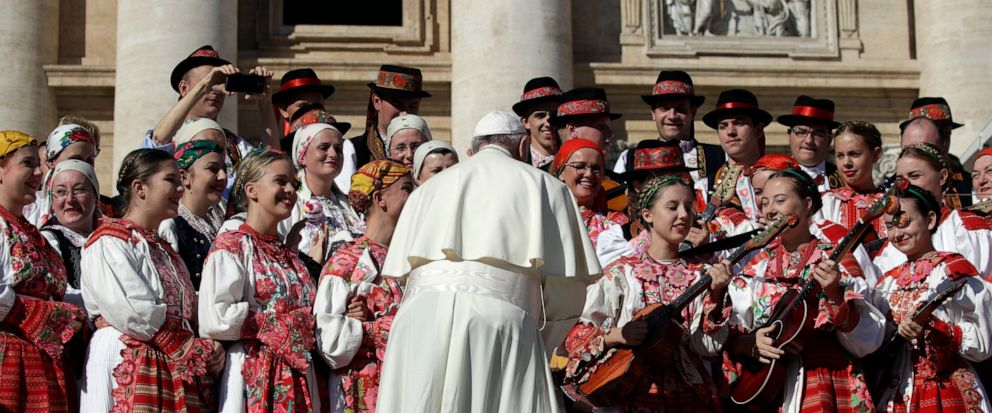 Pope Francis meets a group of pilgrims from Croatia during his weekly general audience in St. Peters Square at the Vatican, Wednesday, Oct. 9, 2019. (AP Photo/Alessandra Tarantino)