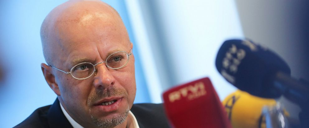 Andreas Kalbitz the Alternative for Germany, AfD, top candidate for the regional election in the German state of Brandenburg attends a news conference in Berlin, Germany, Tuesday, Aug. 13, 2019. On Sunday Sept.1, 2019 regional state elections will ta