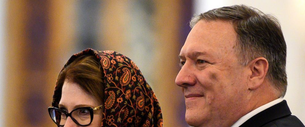 Secretary of State Mike Pompeo and his wife Susan pose for a photo as they tour the newly inaugurated Cathedral of the Nativity Christ, in Egypts New Administrative Capital, east of Cairo, Thursday, Jan. 10, 2019. (Andrew Caballero-Reynolds/Pool Pho