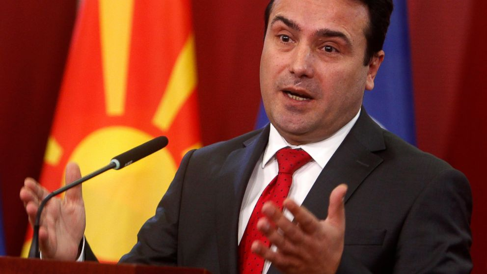 Macedonian Prime Minister Zoran Zaev talks to the media during a news conference at a government building in Skopje, Macedonia, Saturday, Jan. 12, 2019. Macedonia late Friday fulfilled its part of a historic deal that will pave its way to NATO membership and normalize relations with neighboring Greece, after lawmakers approved constitutional changes to rename the country North Macedonia. (AP Photo/Boris Grdanoski)