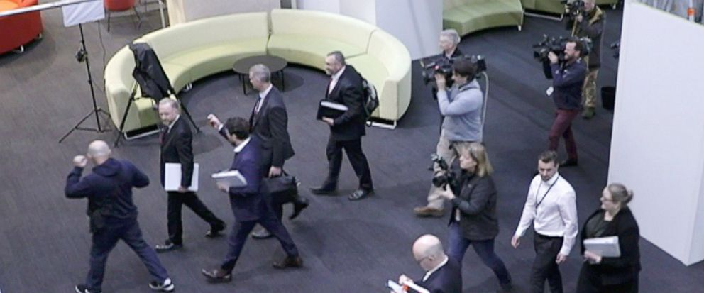 FILE - In this June 5, 2019, file image made from video, Australias Federal Police, top, enter the Australian Broadcasting Corporation, the national public broadcaster, during a raid on their offices in Sydney, Australia. Australias opposition has