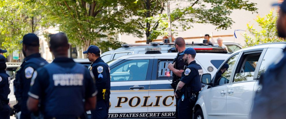 A U.S. Secret Service police car, with pro Nicolas Maduro supporters inside, departs after they were taken into custody during the eviction of Maduros supporters from the Venezuelan Embassy in Washington, Thursday, May 16, 2019. (AP Photo/Pablo Mart