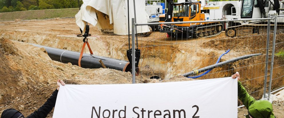 Activists occupy a German pipeline building site in Wrangelsburg, northern Germany, Thursday, May 16, 2019. Police say activists have occupied a building site in northern Germany to protest against the ongoing Nord Stream 2 pipeline project with Russ