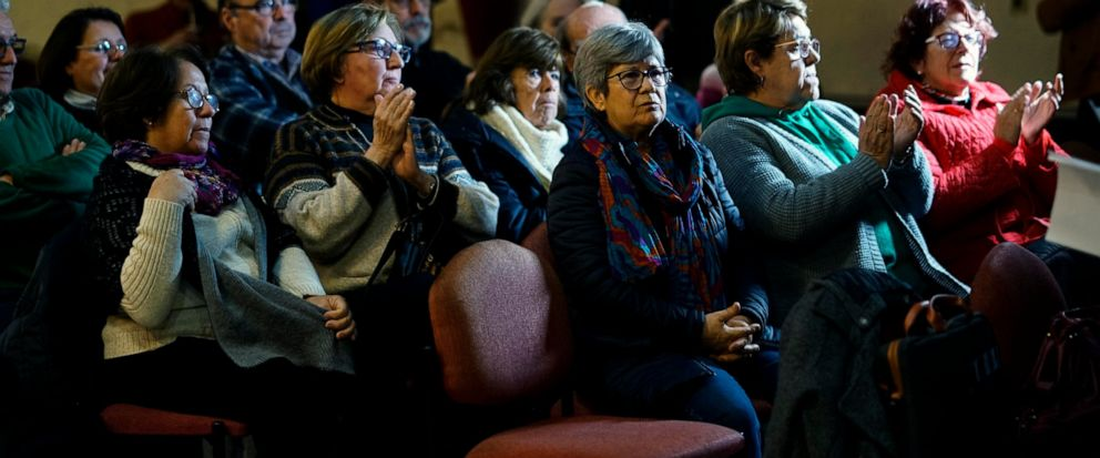 """A group of """"Mothers and relatives of disappeared detainees,"""" """"Observatorio Luz Ibarburu"""" and of other Uruguayan human rights organizations participate in a video conference with members in Rome regarding the """"Operation Condor"""" trail, in Montevideo, U"""