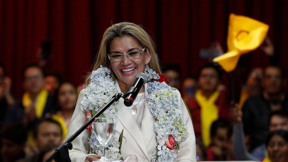 Bolivia's interim leader Áñez confirms candidacy in election thumbnail
