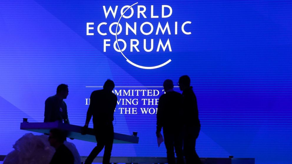 People set up the main stage at the congress center where the annual meeting of the World Economic Forum 2019, WEF, take place in Davos, Sunday, Jan. 20, 2019. (AP Photo/Markus Schreiber)