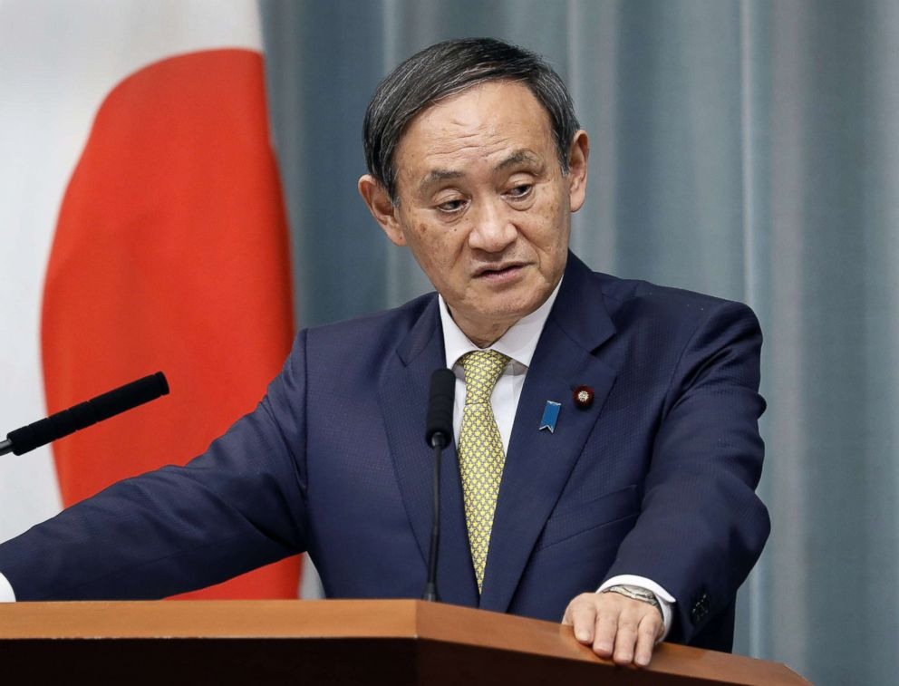 PHOTO: Japanese Chief Cabinet Secretary Yoshihide Suga holds a press conference in Tokyo on Jan. 15, 2019.