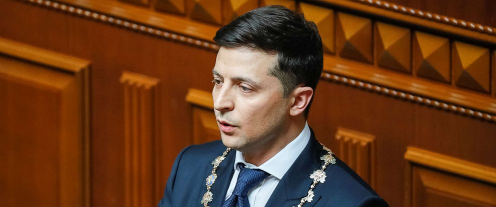 PHOTO: Ukraines new president Volodymyr Zelenskiy listens to the national anthem during his inauguration ceremony in the parliament hall in Kiev, Ukraine, May 20, 2019.