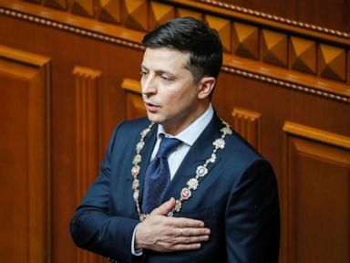 Comedian sworn in as Ukraine's president, dissolves Parliament