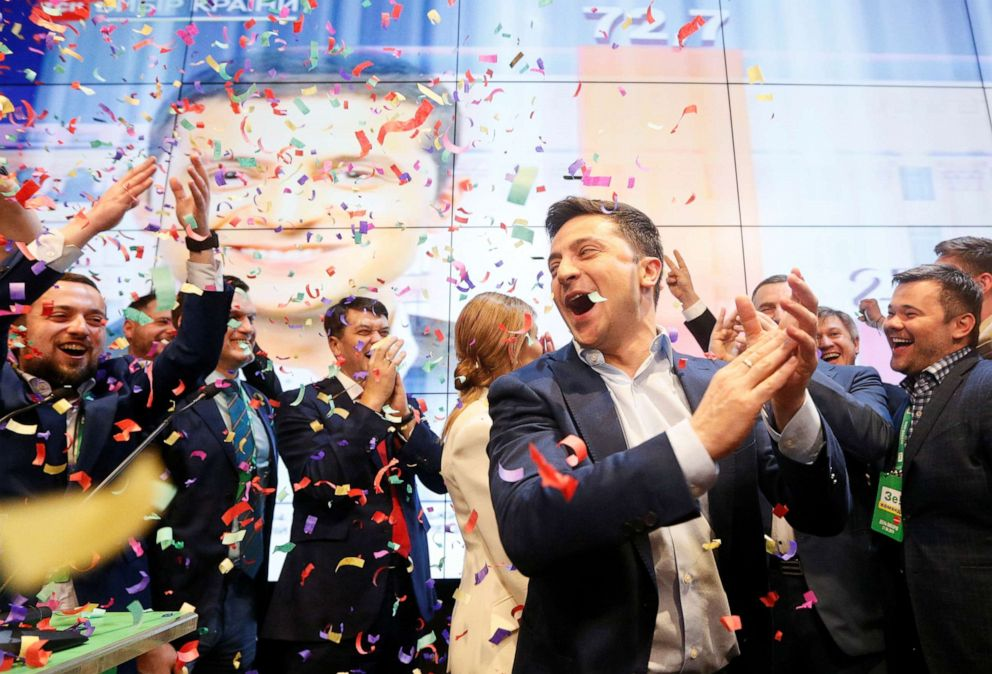 PHOTO: Ukrainian presidential candidate Volodymyr Zelenskiy reacts following the announcement of the first exit poll in a presidential election at his campaign headquarters in Kiev, Ukraine April 21, 2019.
