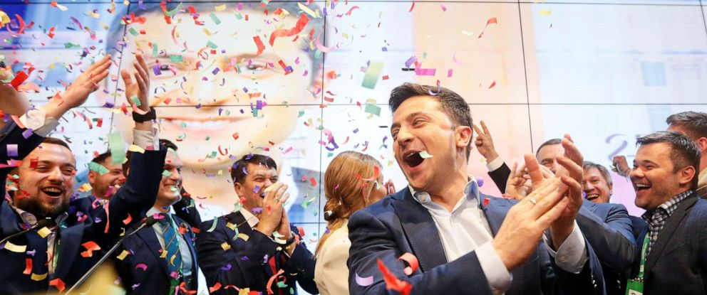 PHOTO: Ukrainian presidential candidate Volodymyr Zelenskiy reacts following the announcement of the first exit poll in a presidential election at his campaign headquarters in Kiev, Ukraine April 21, 2019. REUTERS/Valentyn Ogirenko