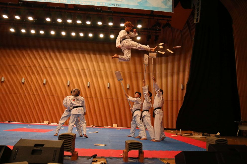 Members of North Koreas taekwondo demonstration team perform in Seoul on Feb. 13, 2018.