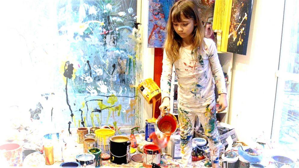 Aelita Andre at work in her studio nicknamed 'Aelita's Magical World'.