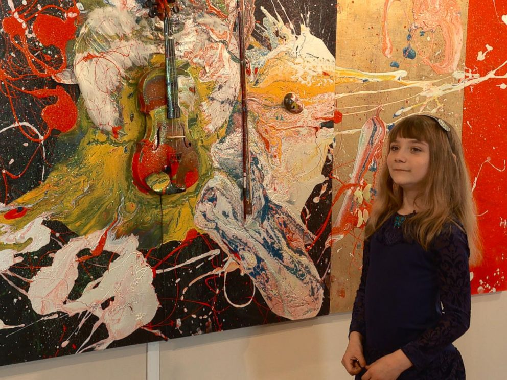 PHOTO: Aelita Andre, 9, is pictured with her art at the Russian Academy of Fine Arts Museum in St. Petersburg, Russia.