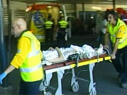 Picture of person on a stretcher.