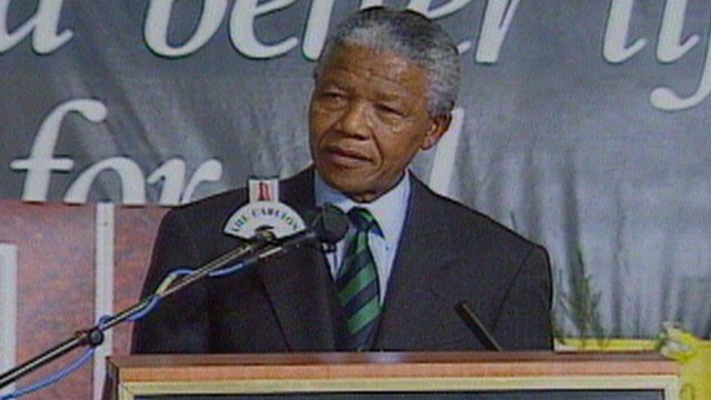 New South African President Nelson Mandela delivers acceptance speech.